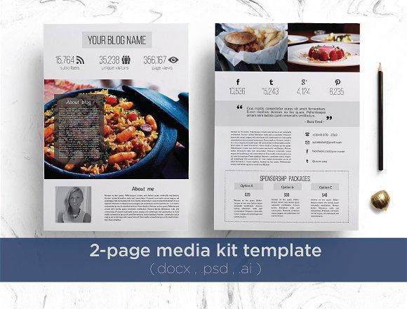 2 Page Media Kit Stationery Templates Creative Market