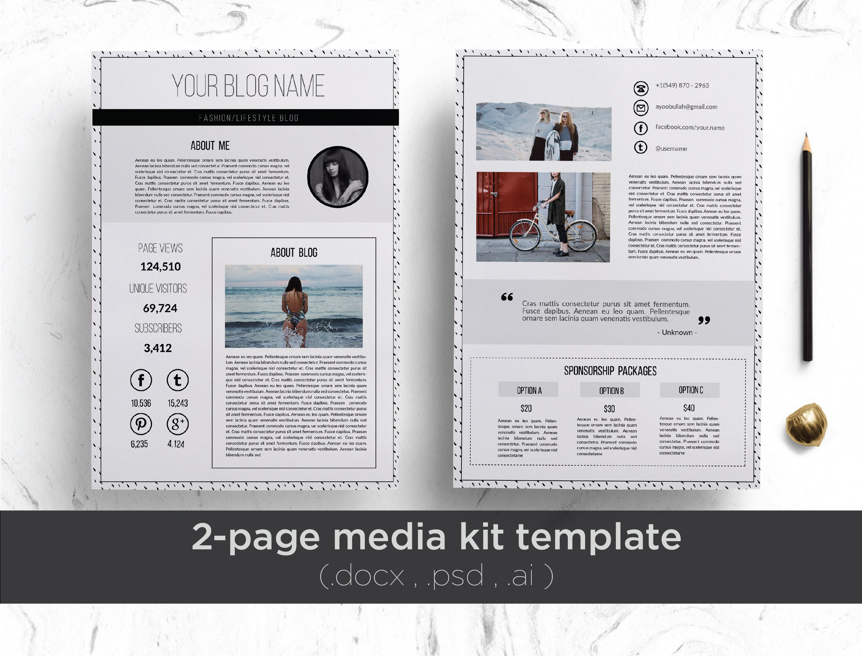 press packet template - elegant 2 page media kit template stationery templates