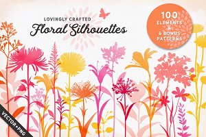100 Flower Silhouettes