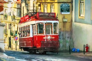 Paint of old tram - Lisbon, Portugal