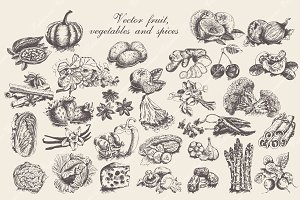 Set of vector fruit and vegetables