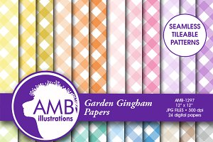 Gingham Pattern Digital Papers, 1297