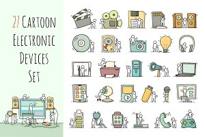 Cartoon electronic devices icons set