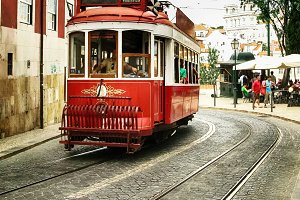 Colorful old tram of Lisbon