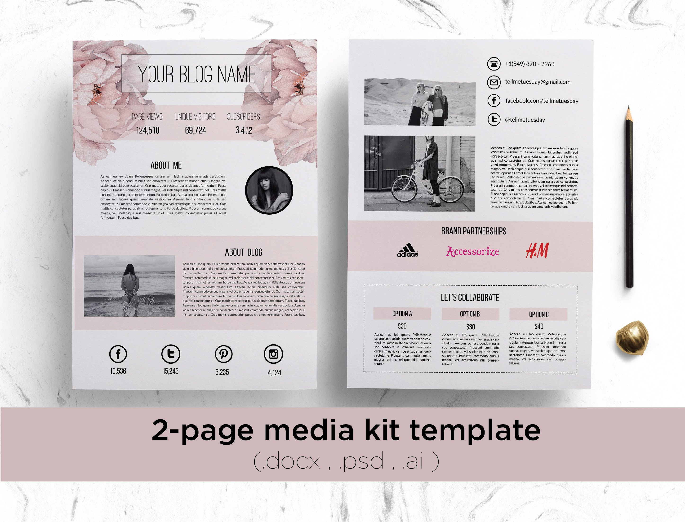 Media kit template no1 stationery templates creative market floral media kit template pronofoot35fo Image collections
