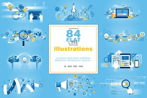 Flat Line Illustrations Bundle