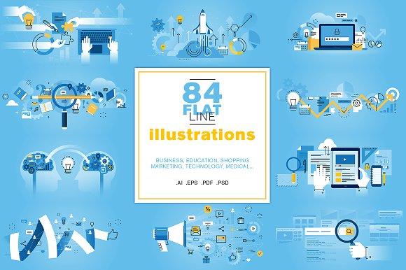 Flat Line Illustrations Bundle