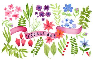 Watercolor in vector floral set