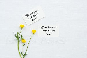 Business card mockup on linen