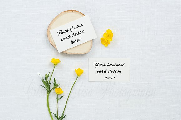 Business card mockup with flowers