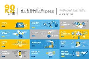 Flat Line Web Banners