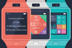 Vector smart watches & simple icons