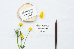 calligraphy mockup business cards