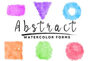 6 Abstract Watercolor Forms
