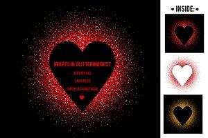 Hearts in glittering dust. Vector