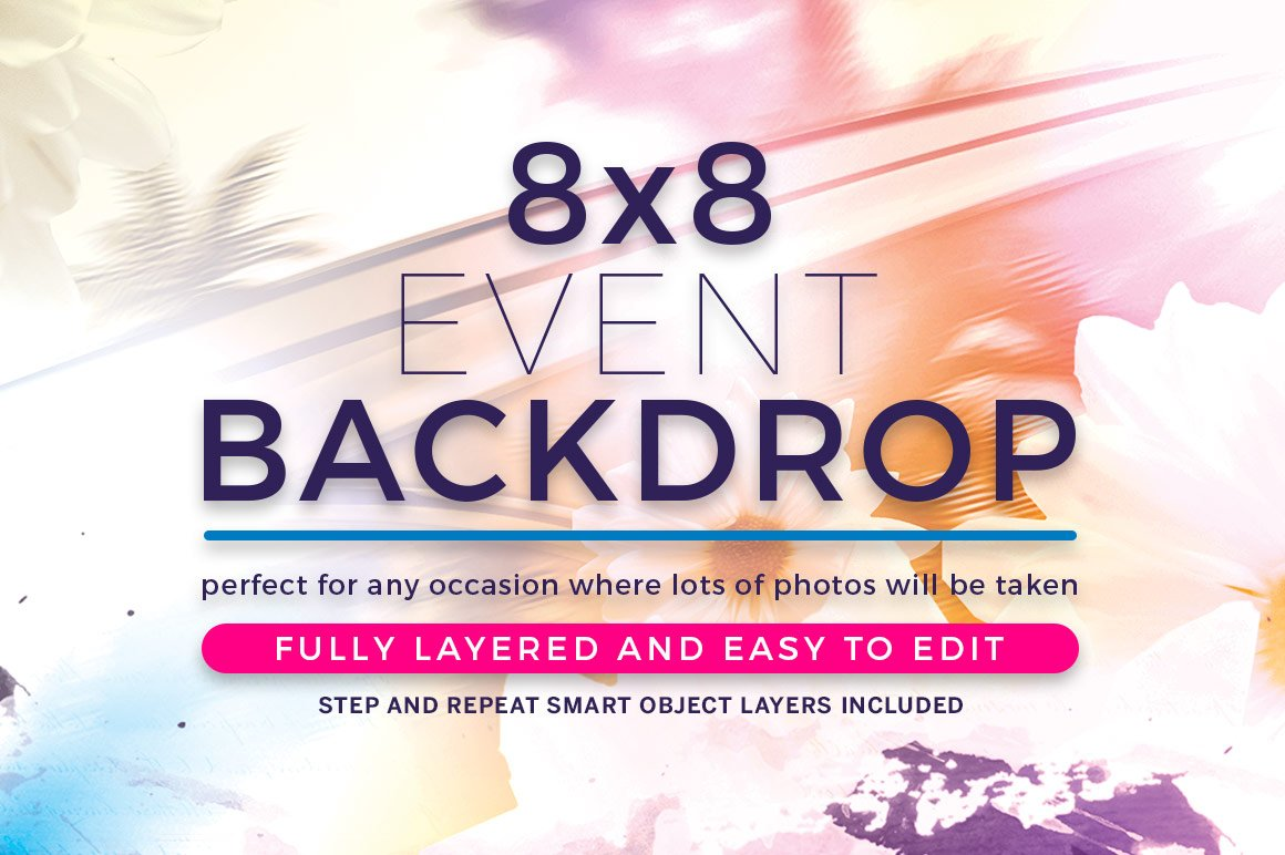 Step and repeat backdrop template templates creative market watercolor event backdrop template pronofoot35fo Image collections