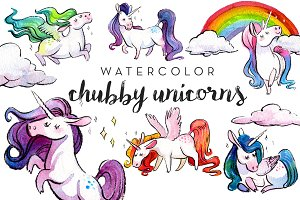 Chubby Watercolor Unicorns Clipart