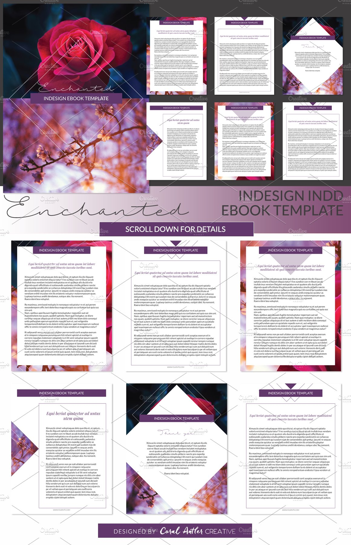 enchanted indesign ebook template presentation templates creative market. Black Bedroom Furniture Sets. Home Design Ideas