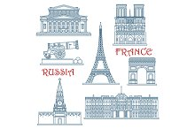 Landmarks of Russia and France
