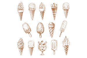 Ice cream desserts isolated sketches