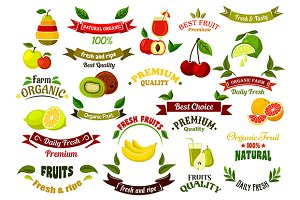 Ripe farm fruits design elements