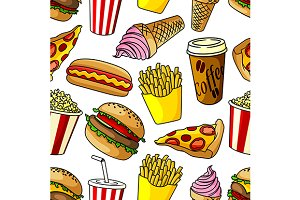 Fast food snacks seamless pattern