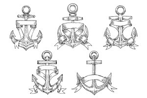 Heraldic marine anchors with ribbons