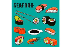 Colorful seafood menu icons