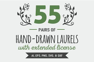 55 Pairs of Hand-drawn Laurels