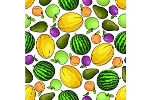 Fresh juicy fruits pattern