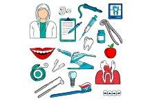 Female dentist with equipment