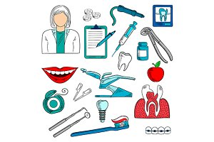 Female dentist with equipment