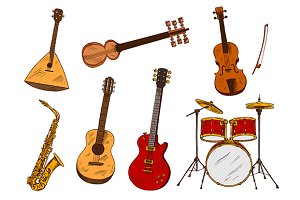 Classic musical instruments sketches