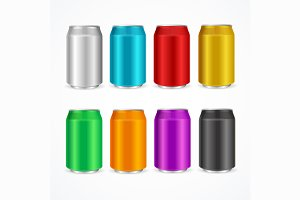 Color Cans Set. Vector