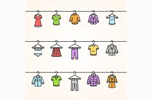 Clothing Icons Set on Hanger. Vector