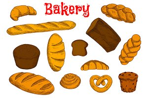 Healthy bakery and pastry sketches