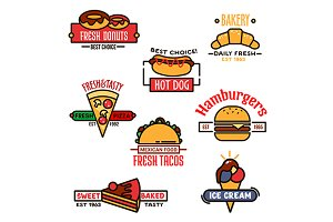 Fast food and bakery icons design
