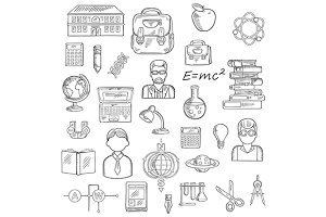 School and education sketch icons