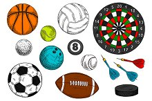 Sketches of sporting items
