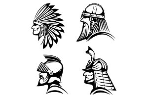 Ancient warriors in helmets