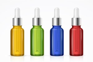 Dropper Bottle Set Colorful. Vector