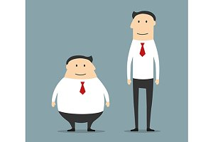 Fat and skinny smiling businessmen