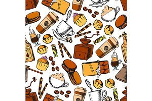 Coffee, sweets and pastries pattern