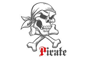 Pirate captain skull with crossbones