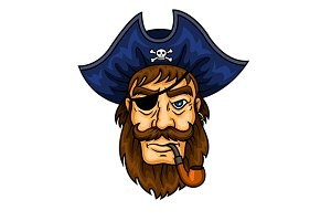 Bearded cartoon pirate captain
