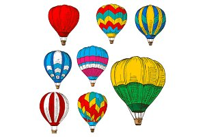 Sketched flying hot air balloons