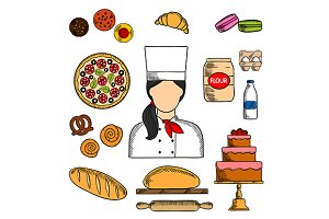 Baker, bakery and pastry icons