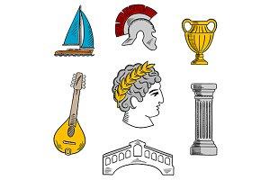 Italian travel and history icons