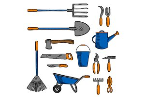 Garden tools sketches