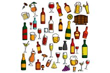 Alcohol drinks and cocktails icons